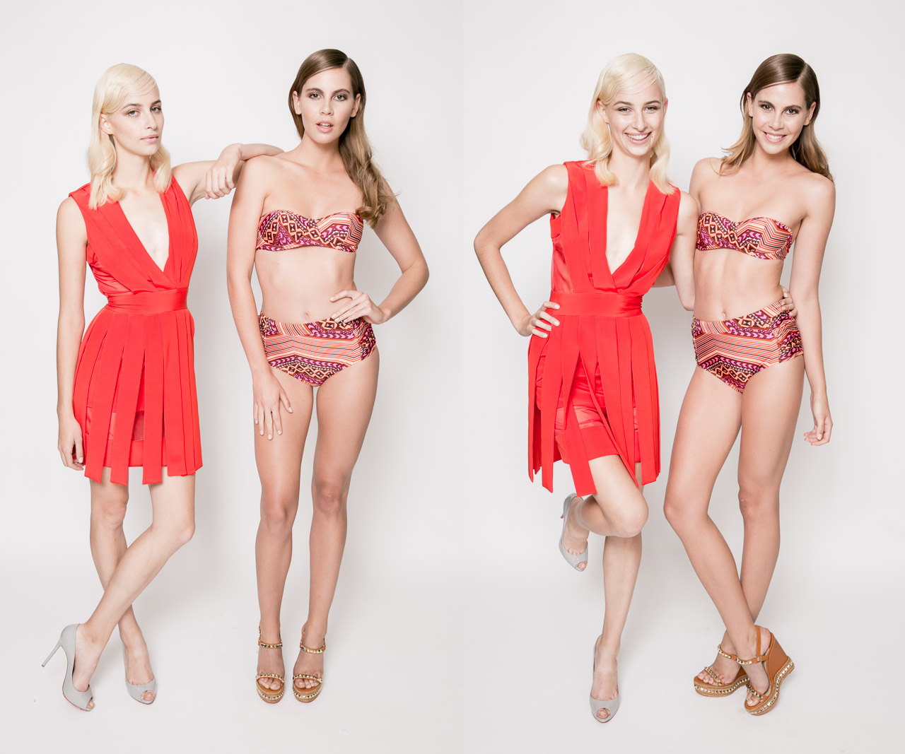 Michael Lo Sordo dress left, Cozi by Jennifer Hawkins swimsuit right, both in Christian Louboutin shoes