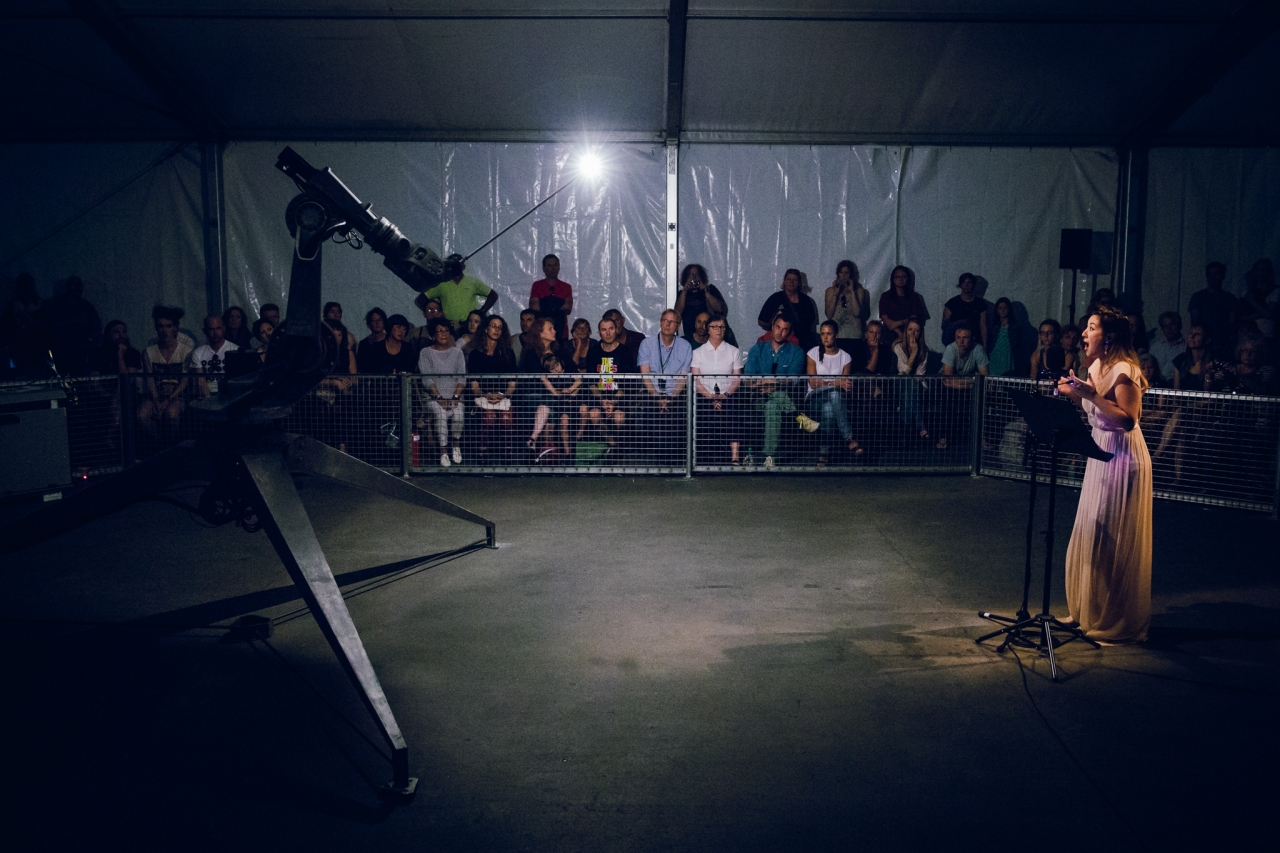 The ADA Project by Conrad Shawcross featured singers (soprano Teresa Duddy in this case) performing to a moving robot.